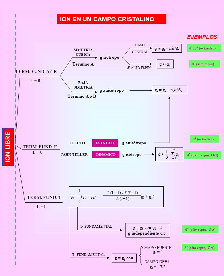 ION LIBRE ION EN UN CAMPO CRISTALINO TERM. FUND. A ó B L = 0 SIMETRIA CUBICA BAJA SIMETRIA Término A Término A ó B g anisótropo g isótropo CASO GENERA