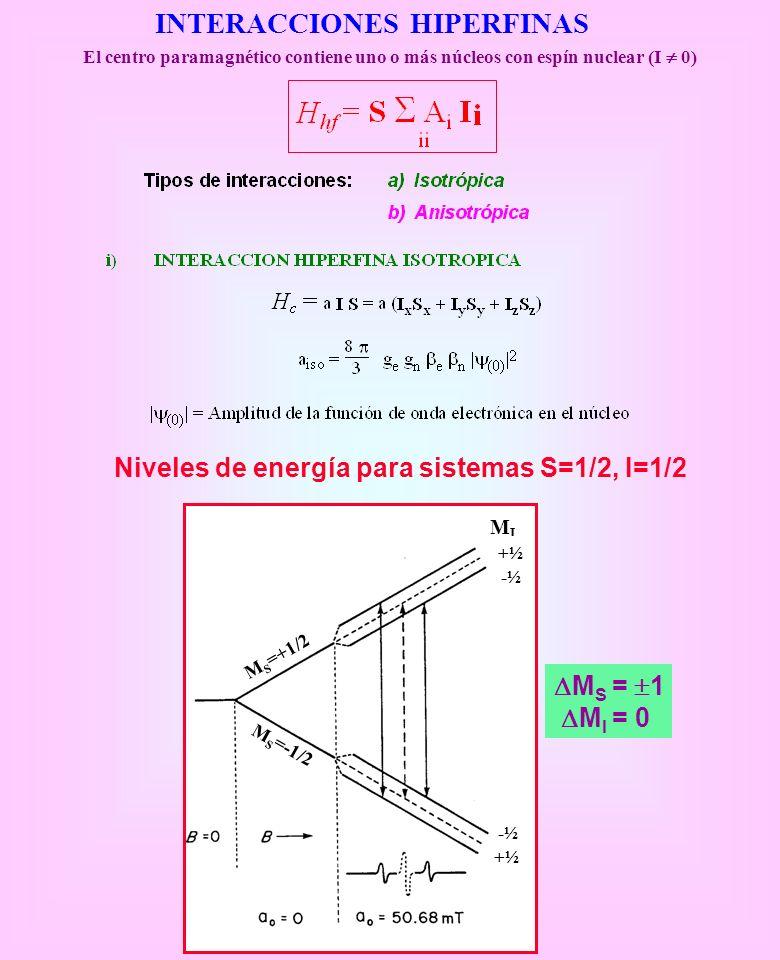INTERACCIONES HIPERFINAS El centro paramagnético contiene uno o más núcleos con espín nuclear (I 0) MIMI -½-½ +½+½ +½+½ -½-½ M S =+1/2 M S =-1/2 M S =