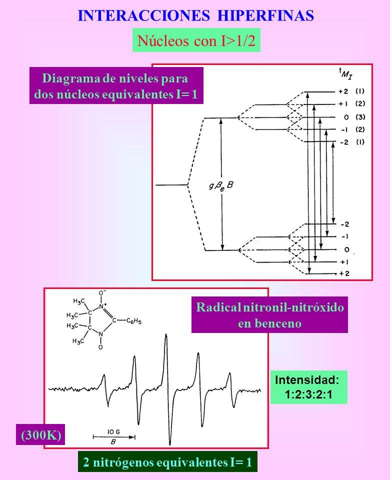 INTERACCIONES HIPERFINAS Núcleos con I>1/2 Diagrama de niveles para dos núcleos equivalentes I= 1 2 nitrógenos equivalentes I= 1 Intensidad: 1:2:3:2:1