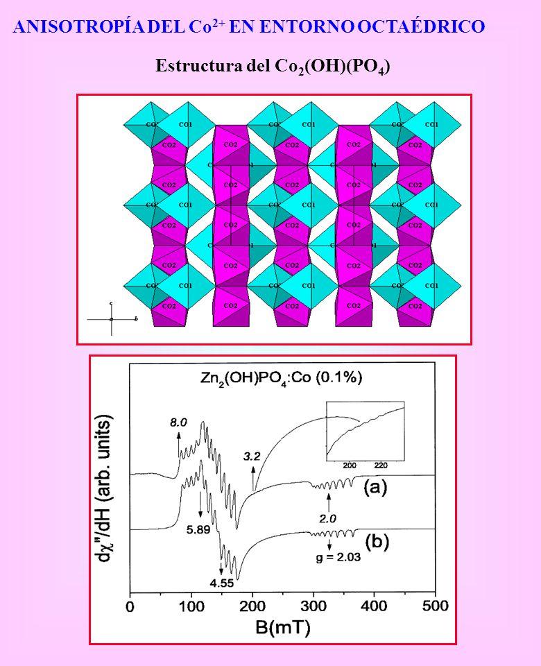 ANISOTROPÍA DEL Co 2+ EN ENTORNO OCTAÉDRICO Estructura del Co 2 (OH)(PO 4 )