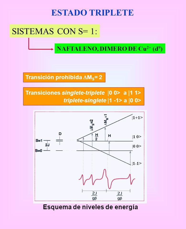 ESTADO TRIPLETE SISTEMAS CON S= 1: NAFTALENO, DIMERO DE Cu 2+ (d 9 ) Transiciones singlete-triplete | 0 0> a | 1 1> triplete-singlete | 1 -1> a | 0 0>