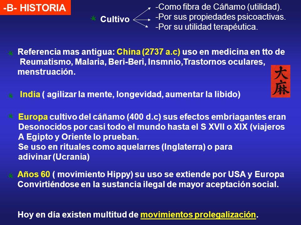 -B- HISTORIA Cultivo -Como fibra de Cáñamo (utilidad). -Por sus propiedades psicoactivas. -Por su utilidad terapéutica. Referencia mas antigua: China