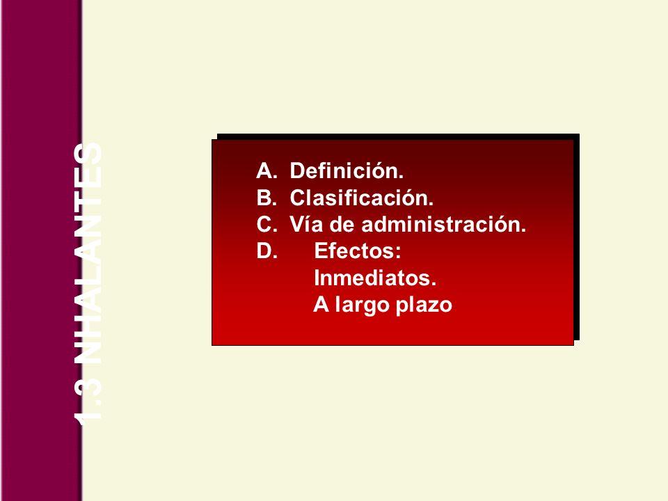 1.3 NHALANTES A.Definición. B.Clasificación. C.Vía de administración. D. Efectos: Inmediatos. A largo plazo