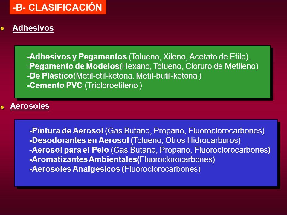 -B- CLASIFICACIÓN -Adhesivos y Pegamentos (Tolueno, Xileno, Acetato de Etilo). -Pegamento de Modelos(Hexano, Tolueno, Cloruro de Metileno) -De Plástic