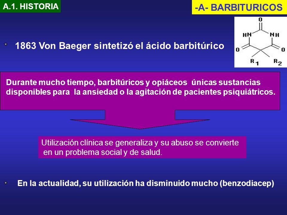 -A- BARBITURICOS A.1. HISTORIA Durante mucho tiempo, barbitúricos y opiáceos únicas sustancias disponibles para la ansiedad o la agitación de paciente