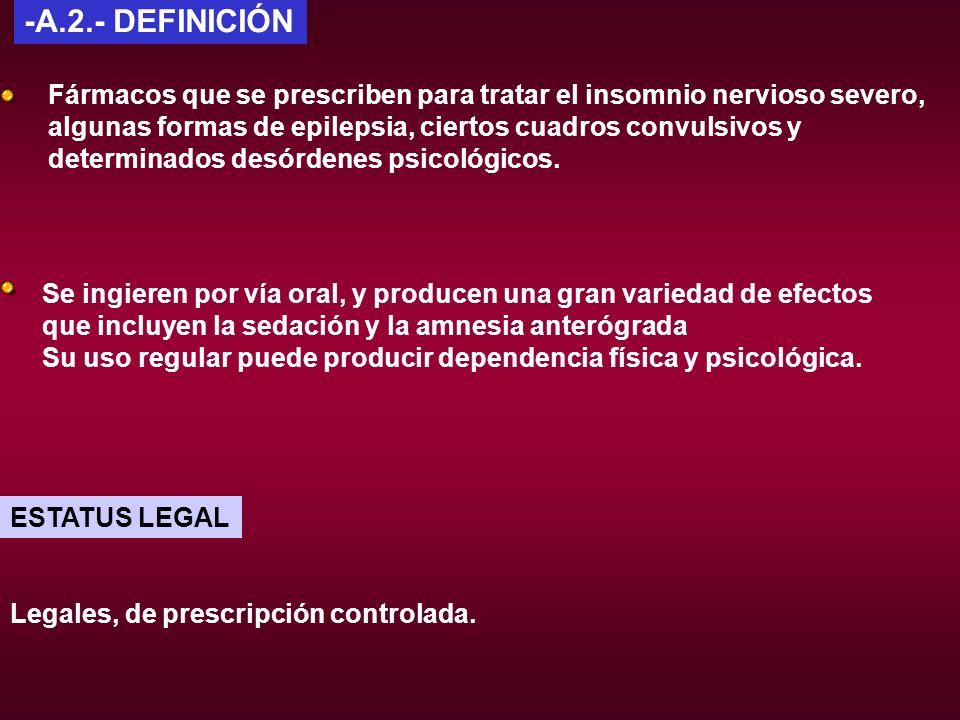 Legales, de prescripción controlada. ESTATUS LEGAL -A.2.- DEFINICIÓN Fármacos que se prescriben para tratar el insomnio nervioso severo, algunas forma
