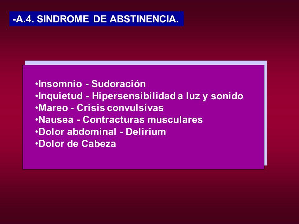 -A.4. SINDROME DE ABSTINENCIA.Insomnio - Sudoración Inquietud - Hipersensibilidad a luz y sonido Mareo - Crisis convulsivas Nausea - Contracturas musc