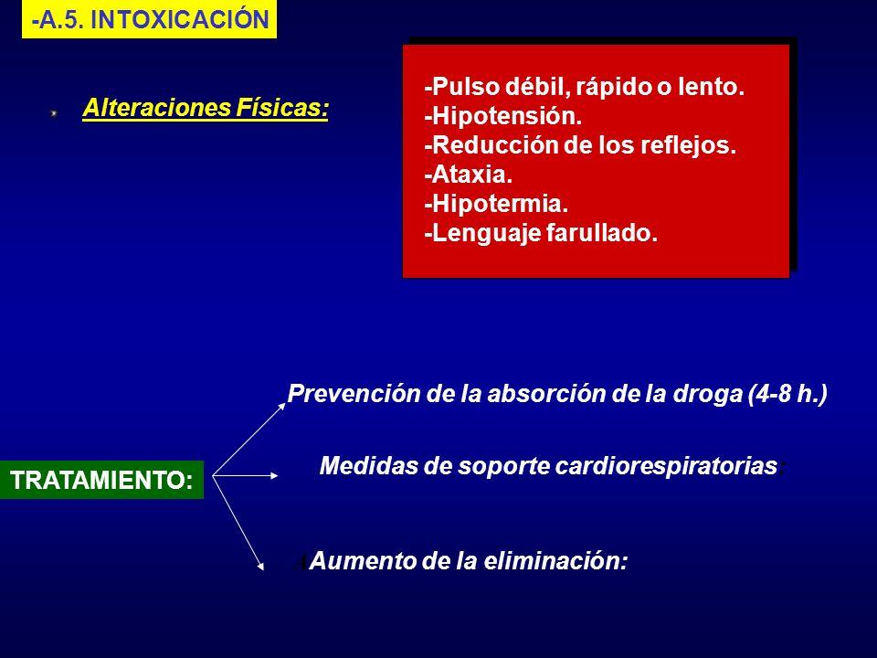 -A.5. INTOXICACIÓN Alteraciones Físicas: -Pulso débil, rápido o lento. -Hipotensión. -Reducción de los reflejos. -Ataxia. -Hipotermia. -Lenguaje farul
