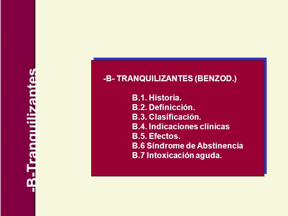 -B- TRANQUILIZANTES (BENZOD.) B.1. Historia. B.2. Definicción. B.3. Clasificación. B.4. Indicaciones clínicas B.5. Efectos. B.6 Síndrome de Abstinenci