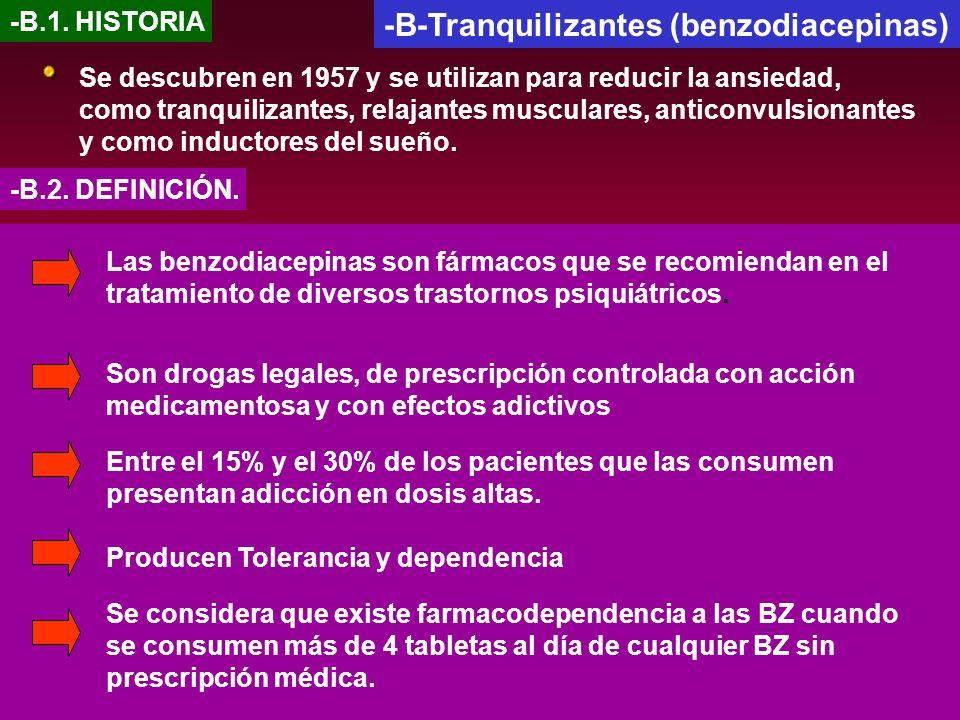 -B-Tranquilizantes (benzodiacepinas) -B.1. HISTORIA Se descubren en 1957 y se utilizan para reducir la ansiedad, como tranquilizantes, relajantes musc