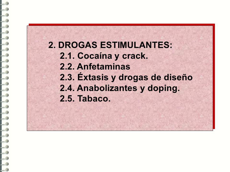 2. DROGAS ESTIMULANTES: 2.1. Cocaína y crack. 2.2. Anfetaminas 2.3. Éxtasis y drogas de diseño 2.4. Anabolizantes y doping. 2.5. Tabaco.