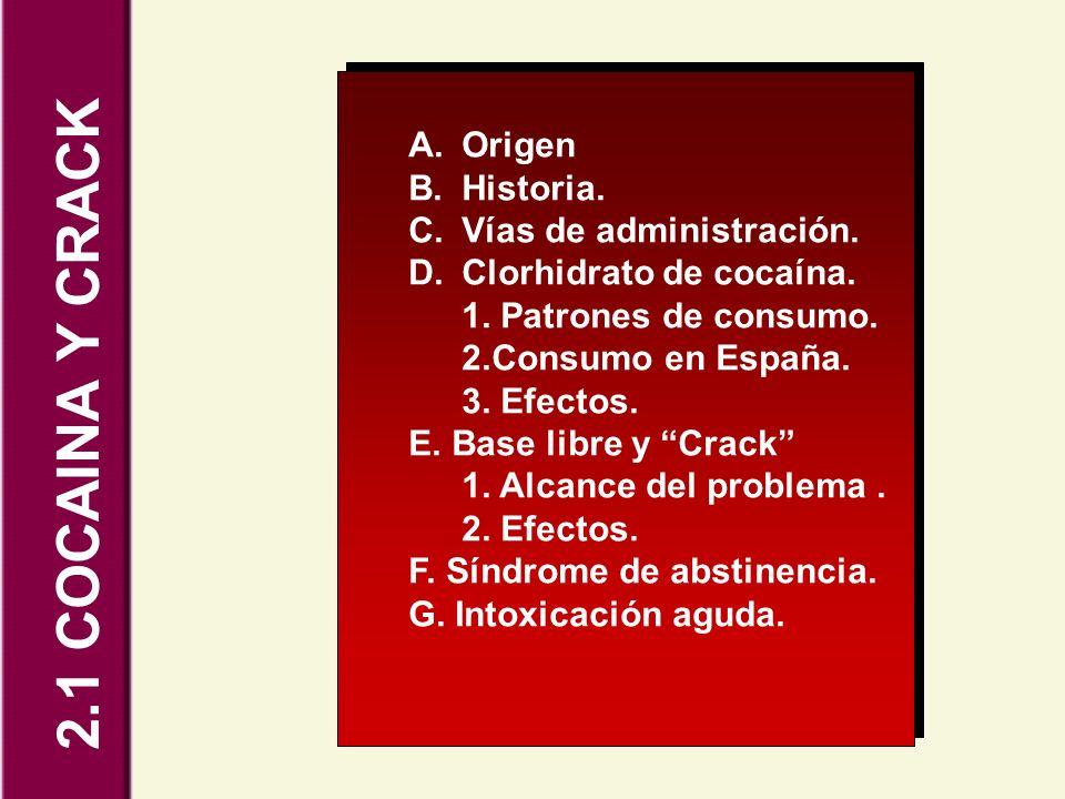 2.1 COCAINA Y CRACK A.Origen B.Historia. C.Vías de administración. D.Clorhidrato de cocaína. 1. Patrones de consumo. 2.Consumo en España. 3. Efectos.