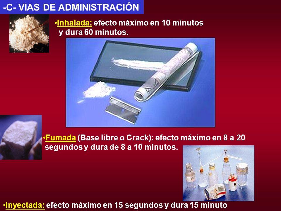 -C- VIAS DE ADMINISTRACIÓN Inyectada: efecto máximo en 15 segundos y dura 15 minuto Inhalada: efecto máximo en 10 minutos y dura 60 minutos. Fumada (B