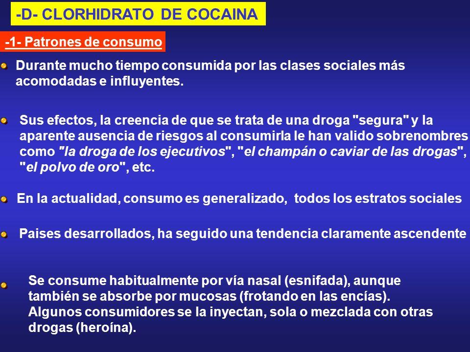 -D- CLORHIDRATO DE COCAINA -1- Patrones de consumo Se consume habitualmente por vía nasal (esnifada), aunque también se absorbe por mucosas (frotando