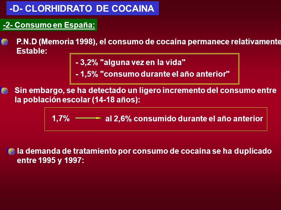 -D- CLORHIDRATO DE COCAINA -2- Consumo en España: P.N.D (Memoria 1998), el consumo de cocaína permanece relativamente Estable: Sin embargo, se ha dete