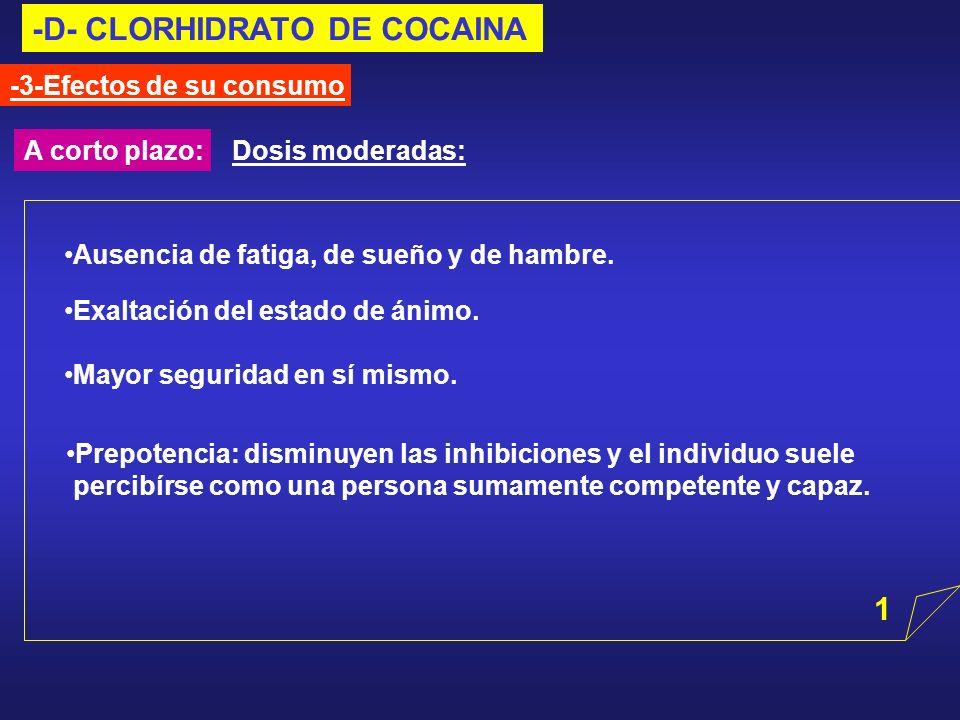 -D- CLORHIDRATO DE COCAINA -3-Efectos de su consumo A corto plazo:Dosis moderadas: Prepotencia: disminuyen las inhibiciones y el individuo suele perci