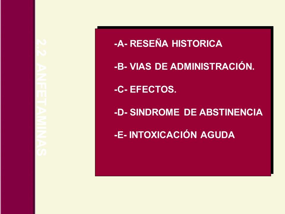 2.2 ANFETAMINAS -A- RESEÑA HISTORICA -B- VIAS DE ADMINISTRACIÓN. -C- EFECTOS. -D- SINDROME DE ABSTINENCIA -E- INTOXICACIÓN AGUDA