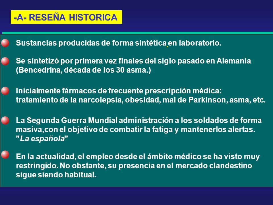 -A- RESEÑA HISTORICA Sustancias producidas de forma sintética en laboratorio. Se sintetizó por primera vez finales del siglo pasado en Alemania (Bence