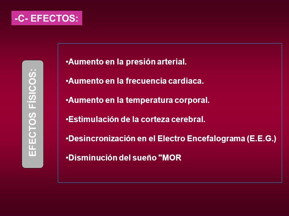 -C- EFECTOS: Aumento en la presión arterial. Aumento en la frecuencia cardiaca. Aumento en la temperatura corporal. Estimulación de la corteza cerebra