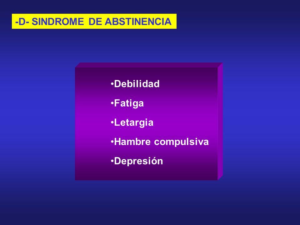 -D- SINDROME DE ABSTINENCIA Depresión Debilidad Fatiga Letargia Hambre compulsiva