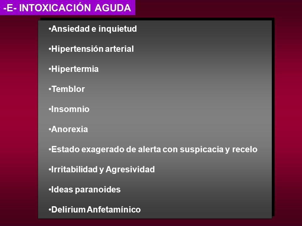 -E- INTOXICACIÓN AGUDA Ansiedad e inquietud Hipertensión arterial Hipertermia Temblor Insomnio Anorexia Estado exagerado de alerta con suspicacia y re