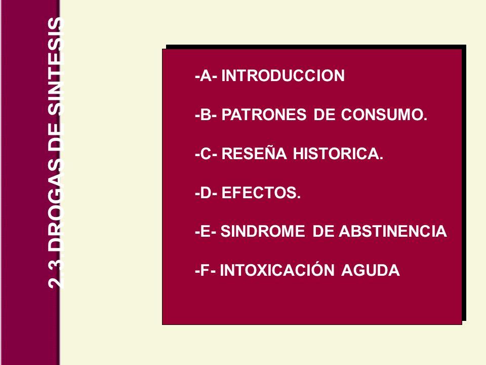 2.3.DROGAS DE SINTESIS -A- INTRODUCCION -B- PATRONES DE CONSUMO. -C- RESEÑA HISTORICA. -D- EFECTOS. -E- SINDROME DE ABSTINENCIA -F- INTOXICACIÓN AGUDA