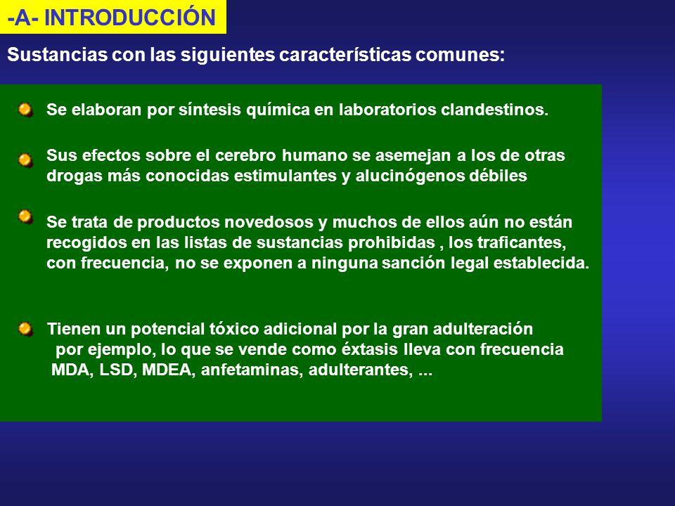 -A- INTRODUCCIÓN Sustancias con las siguientes características comunes: Tienen un potencial tóxico adicional por la gran adulteración por ejemplo, lo