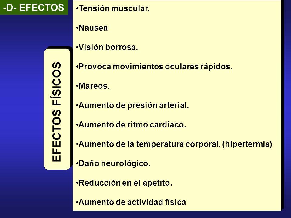 -D- EFECTOS Tensión muscular. Nausea Visión borrosa. Provoca movimientos oculares rápidos. Mareos. Aumento de presión arterial. Aumento de ritmo cardi