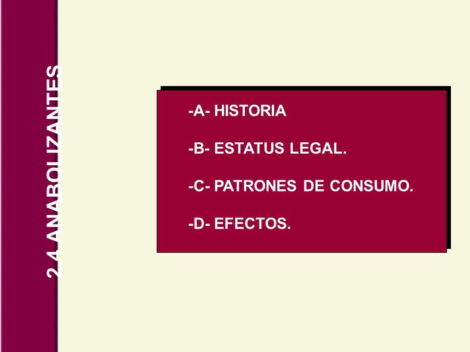 2.4.ANABOLIZANTES -A- HISTORIA -B- ESTATUS LEGAL. -C- PATRONES DE CONSUMO. -D- EFECTOS.