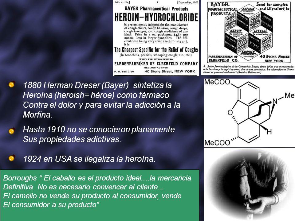 1880 Herman Dreser (Bayer) sintetiza la Heroína (heroish= héroe) como fármaco Contra el dolor y para evitar la adicción a la Morfina. Hasta 1910 no se