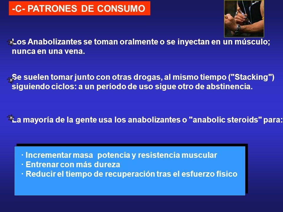 -C- PATRONES DE CONSUMO · Incrementar masa potencia y resistencia muscular · Entrenar con más dureza · Reducir el tiempo de recuperación tras el esfue