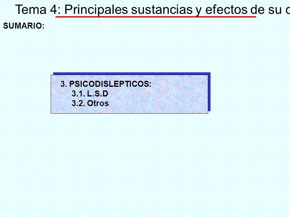 Tema 4: Principales sustancias y efectos de su consumo SUMARIO: 3. PSICODISLEPTICOS: 3.1. L.S.D 3.2. Otros