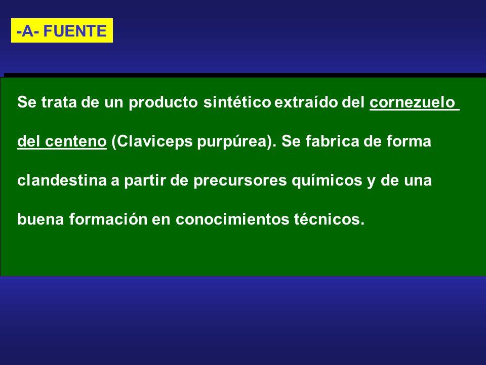 -A- FUENTE Se trata de un producto sintético extraído del cornezuelo del centeno (Claviceps purpúrea). Se fabrica de forma clandestina a partir de pre