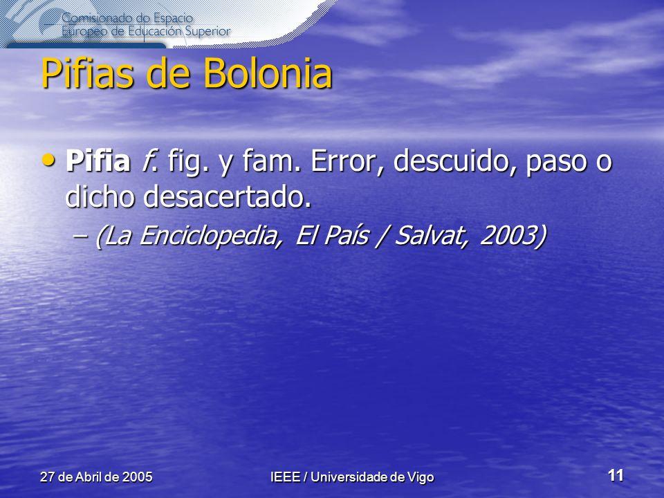 27 de Abril de 2005IEEE / Universidade de Vigo 11 Pifias de Bolonia Pifia f.