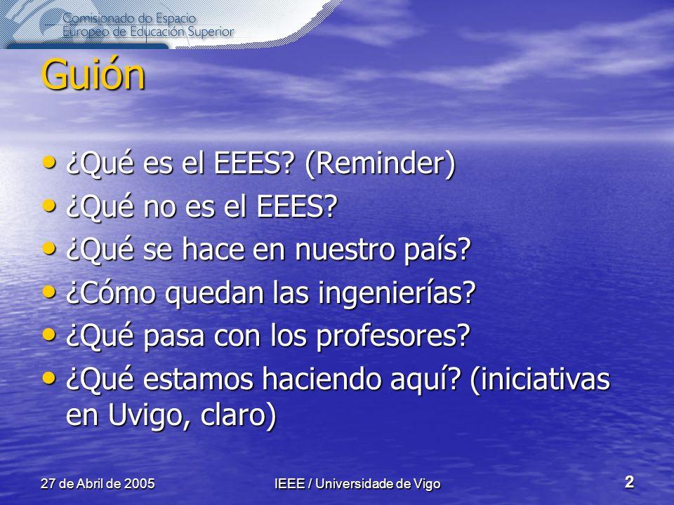 27 de Abril de 2005IEEE / Universidade de Vigo 2 Guión ¿Qué es el EEES.