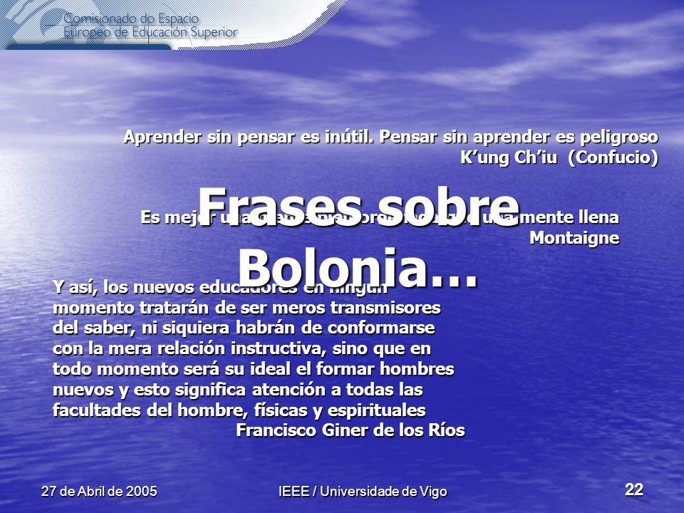 27 de Abril de 2005IEEE / Universidade de Vigo 22 Aprender sin pensar es inútil.