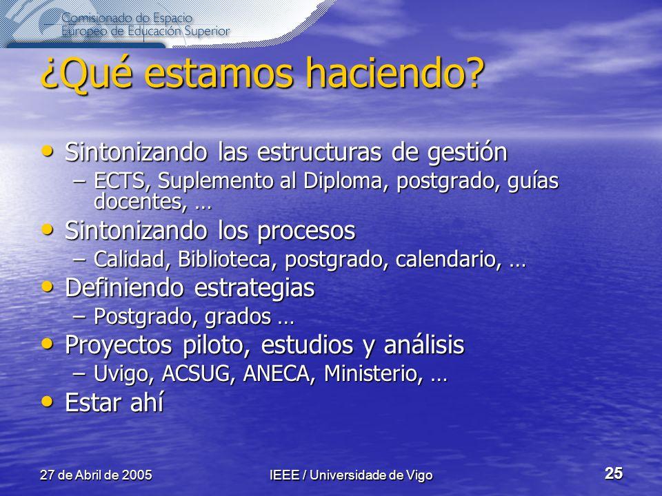 27 de Abril de 2005IEEE / Universidade de Vigo 25 ¿Qué estamos haciendo.