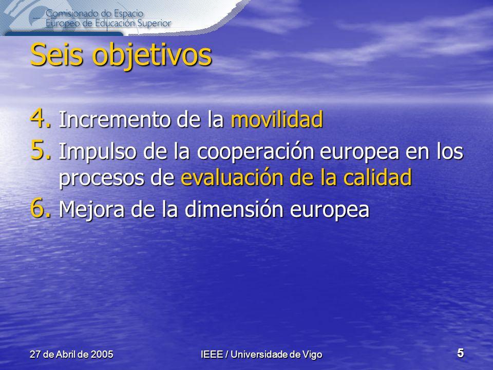 27 de Abril de 2005IEEE / Universidade de Vigo 5 Seis objetivos 4.