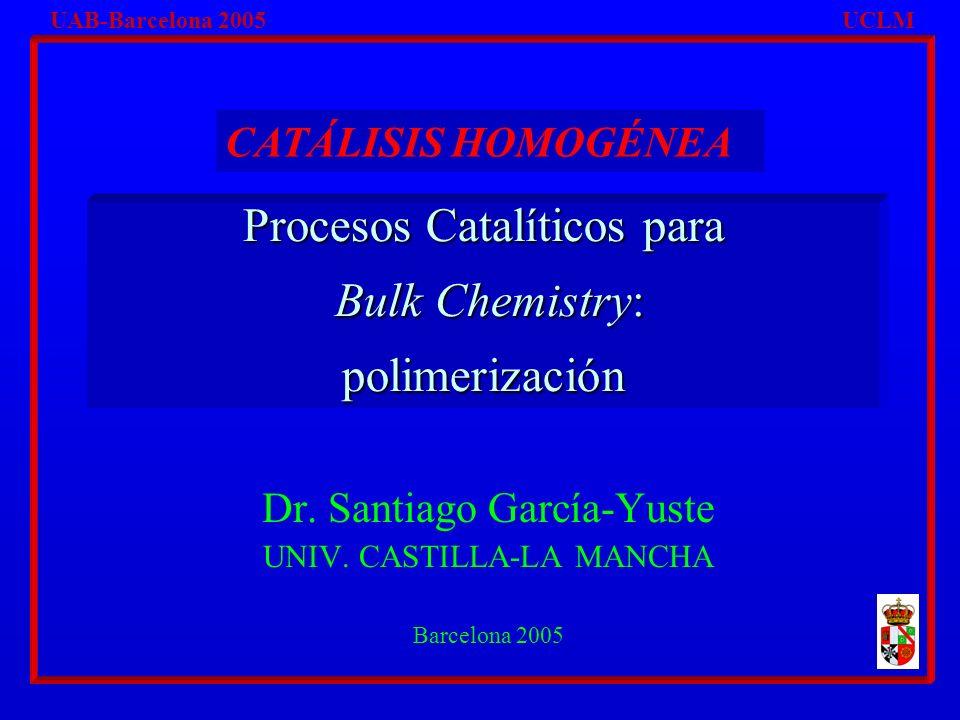 Bulky I Pol POLIMERIZACIÓN CON ESTEREOQUÍMICA CONTROLADA UAB-UCLM Catálisis Homogénea.
