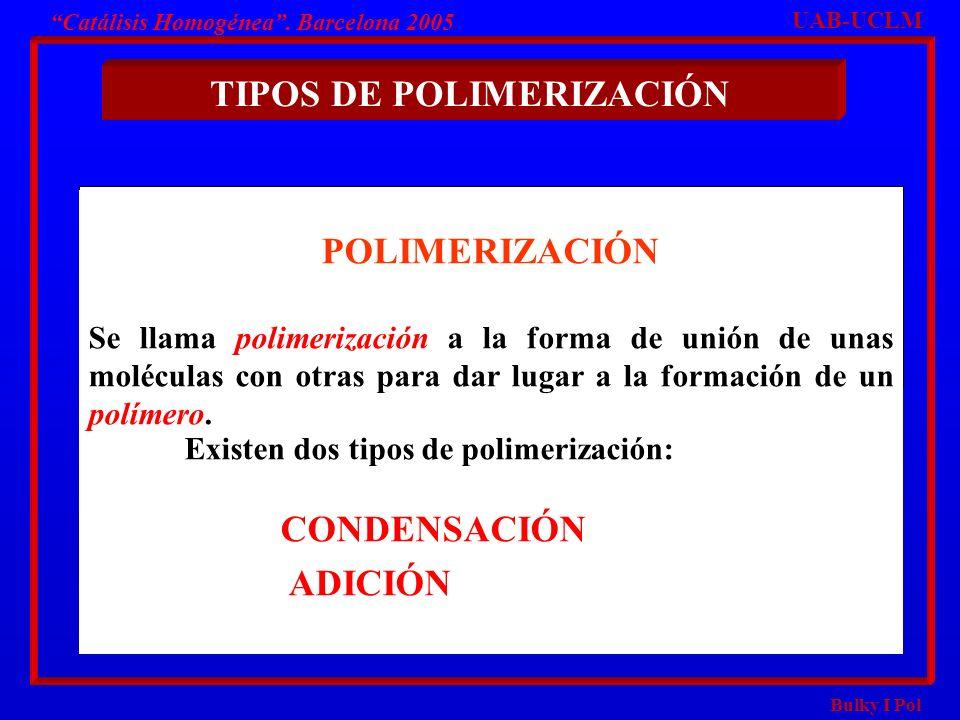 Bulky I Pol Catálisis Homogénea. Barcelona 2005 POLIMERIZACIÓN Se llama polimerización a la forma de unión de unas moléculas con otras para dar lugar