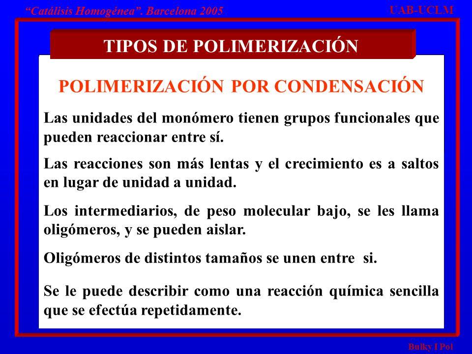 Bulky I Pol Catálisis Homogénea. Barcelona 2005 POLIMERIZACIÓN POR CONDENSACIÓN Las unidades del monómero tienen grupos funcionales que pueden reaccio