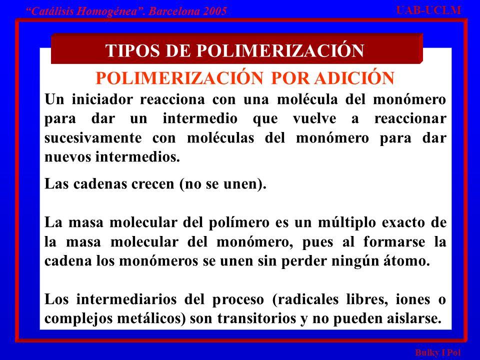 Bulky I Pol Catálisis Homogénea. Barcelona 2005 POLIMERIZACIÓN POR ADICIÓN Un iniciador reacciona con una molécula del monómero para dar un intermedio