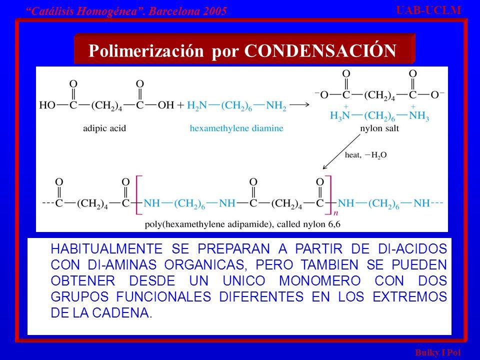 Bulky I Pol Polimerización por CONDENSACIÓN UAB-UCLM Catálisis Homogénea. Barcelona 2005 HABITUALMENTE SE PREPARAN A PARTIR DE DI-ACIDOS CON DI-AMINAS
