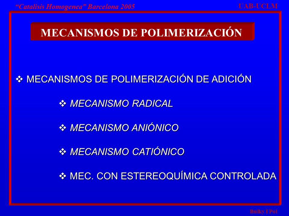 Bulky I Pol Catalisis Homogenea Barcelona 2005 MECANISMOS DE POLIMERIZACIÓN DE ADICIÓN MECANISMOS DE POLIMERIZACIÓN DE ADICIÓN MECANISMO RADICAL MECAN