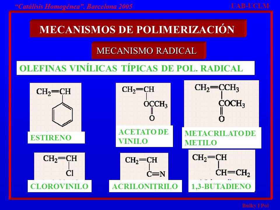 Bulky I Pol Catálisis Homogénea. Barcelona 2005 MECANISMOS DE POLIMERIZACIÓN MECANISMO RADICAL UAB-UCLM OLEFINAS VINÍLICAS TÍPICAS DE POL. RADICAL EST