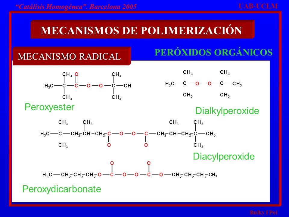 Bulky I Pol Catálisis Homogénea. Barcelona 2005 MECANISMOS DE POLIMERIZACIÓN PERÓXIDOS ORGÁNICOS C CH 3 CH 3 CH 3 C OO C CH 3 CH CH 3 O C CH 3 CH 3 CH