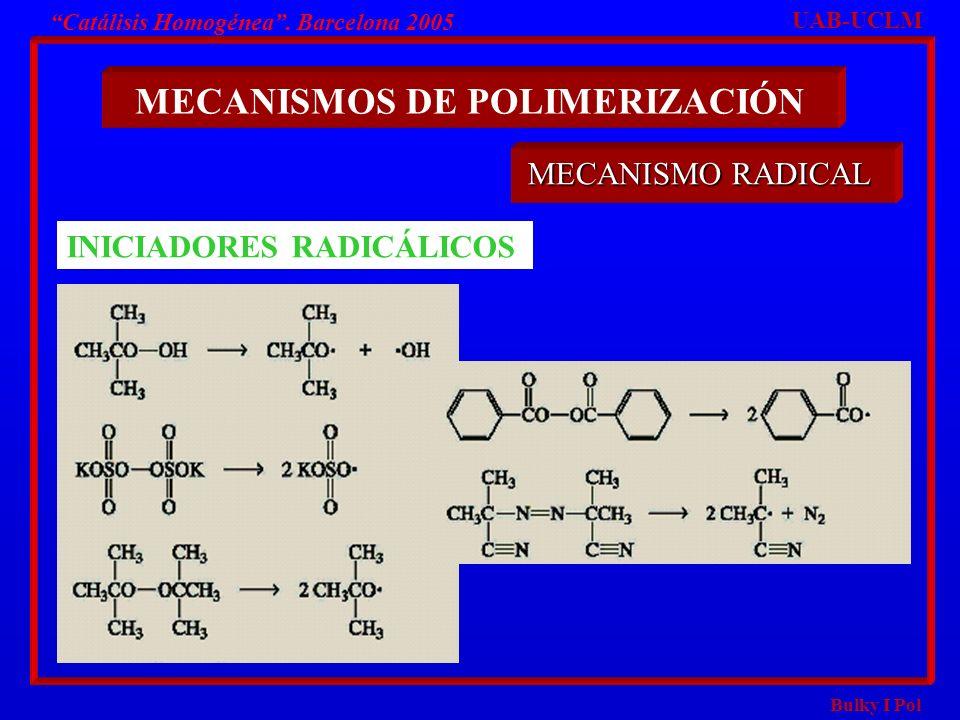 Bulky I Pol Catálisis Homogénea. Barcelona 2005 MECANISMOS DE POLIMERIZACIÓN UAB-UCLM MECANISMO RADICAL INICIADORES RADICÁLICOS
