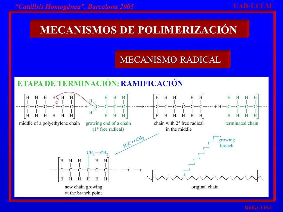 Bulky I Pol Catálisis Homogénea. Barcelona 2005 MECANISMOS DE POLIMERIZACIÓN UAB-UCLM MECANISMO RADICAL ETAPA DE TERMINACIÓN: RAMIFICACIÓN