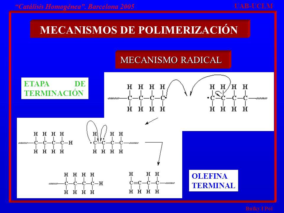 Bulky I Pol Catálisis Homogénea. Barcelona 2005 MECANISMOS DE POLIMERIZACIÓN UAB-UCLM MECANISMO RADICAL ETAPA DE TERMINACIÓN OLEFINA TERMINAL