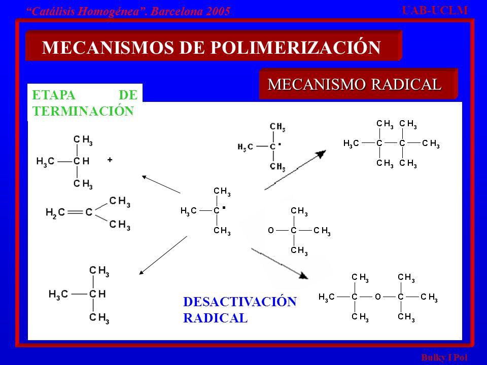 Bulky I Pol Catálisis Homogénea. Barcelona 2005 MECANISMOS DE POLIMERIZACIÓN UAB-UCLM MECANISMO RADICAL ETAPA DE TERMINACIÓN DESACTIVACIÓN RADICAL